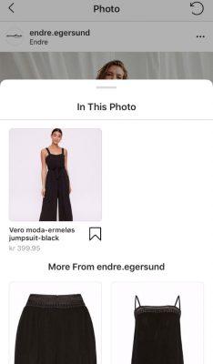 Instagram Shopping Eksempel produkter v2
